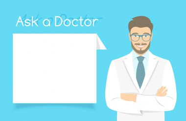 Modern flat stylized vector illustration of smiling young attractive friendly looking male doctor consultant standing with arms crossed opposite information dialog box. Online consultation concept clip art vector