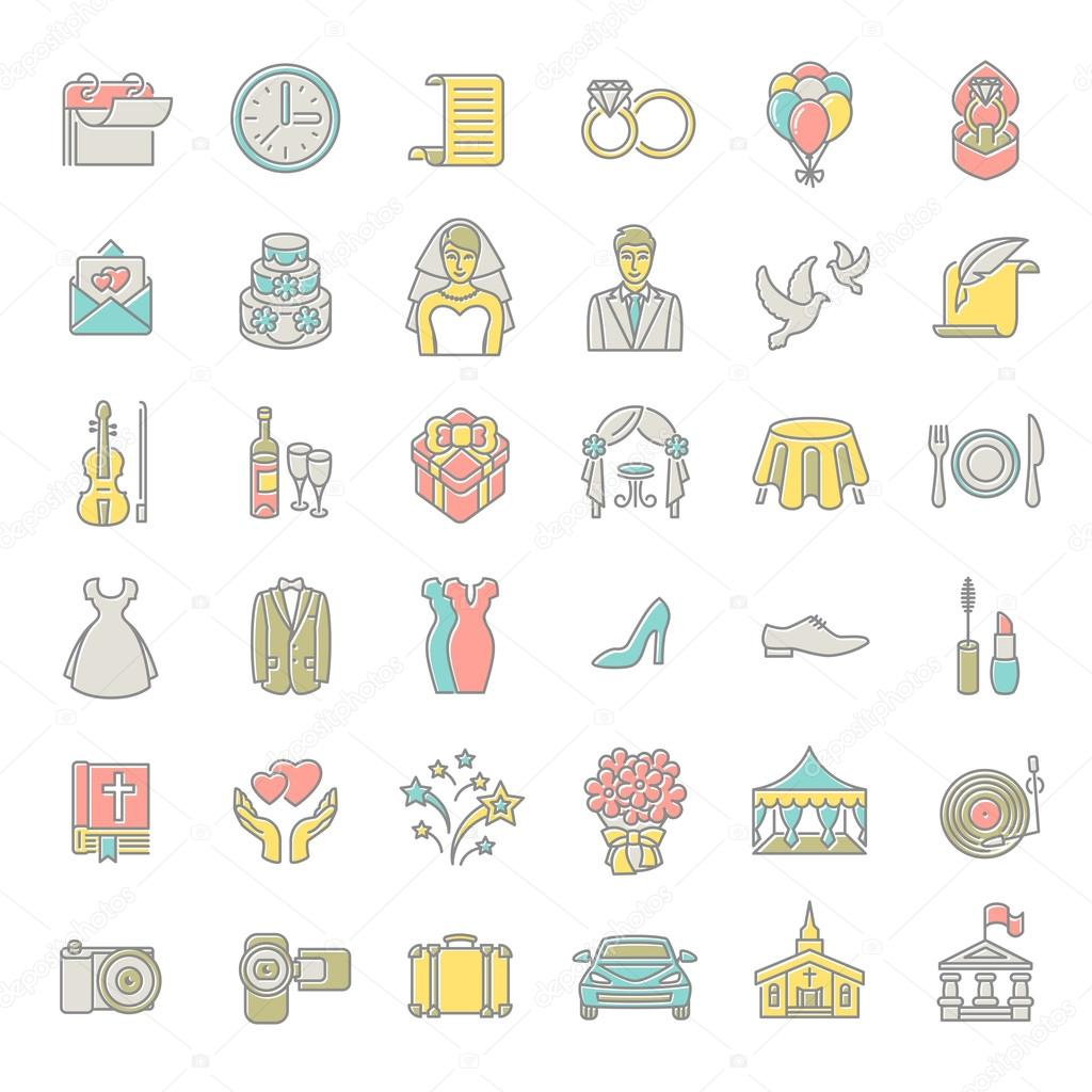 Modern flat linear colorful vector wedding icons