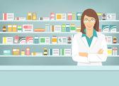 Ploché styl mladých lékárníka v lékárně opačné police léků