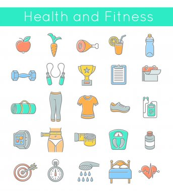 Flat Thin Line Fitness and Wellness Icons