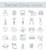 Fogászati klinika szolgáltatások átalányadó vékony vonal ikonok