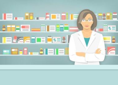 Flat style woman pharmacist at pharmacy opposite shelves of medicines