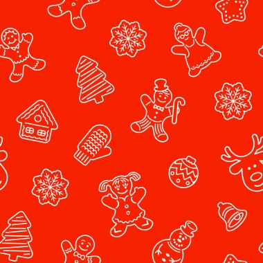 Flat vector Christmas background seamless pattern with different cookies. Gingerbread men, deer, snowflake, bell and other winter holidays symbols. Traditional festive wallpaper, wrapping paper design clip art vector