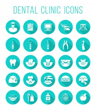 Dental health care round flat vector icons