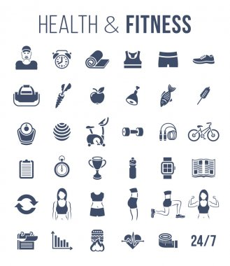 Fitness gym and healthy lifestyle flat silhouettes vector icons