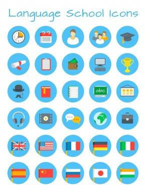 Language school flat vector education icons