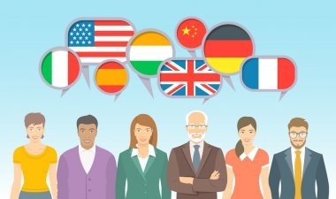 Foreign language school for adults flat illustration