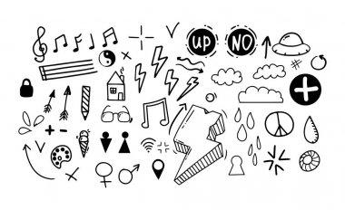 Doodle style hand drawing. Set of different drawings. Isolated vector illustration icon