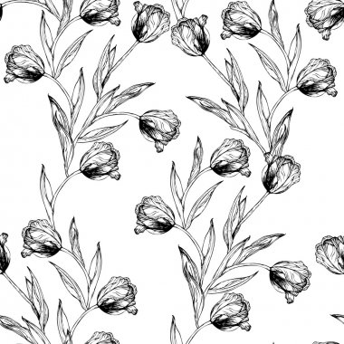 Vector seamless pattern with hand drawing black and white tulips flowers