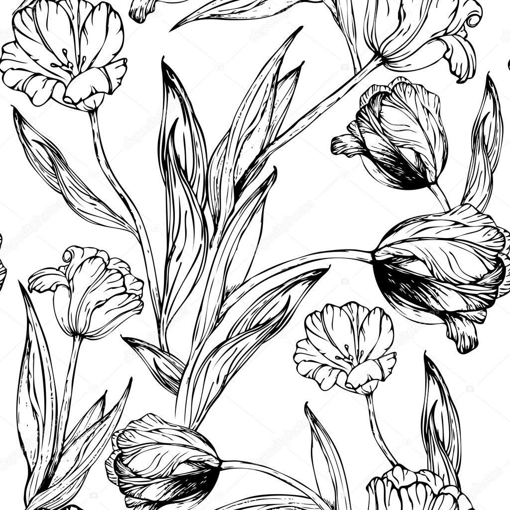 Modele Seamless Vector Avec Main Dessin Noir Et Blanc Tulipes Fleurs