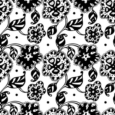 Vector seamless pattern with black and white flowers