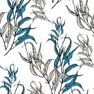 Vector seamless pattern with eucaliptus leaves
