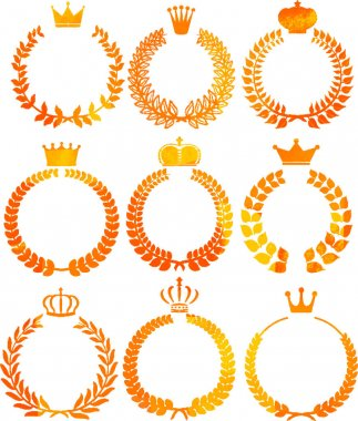 Uneven color Round frame of laurel and crown set