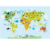 Fotografie world map with animals for children