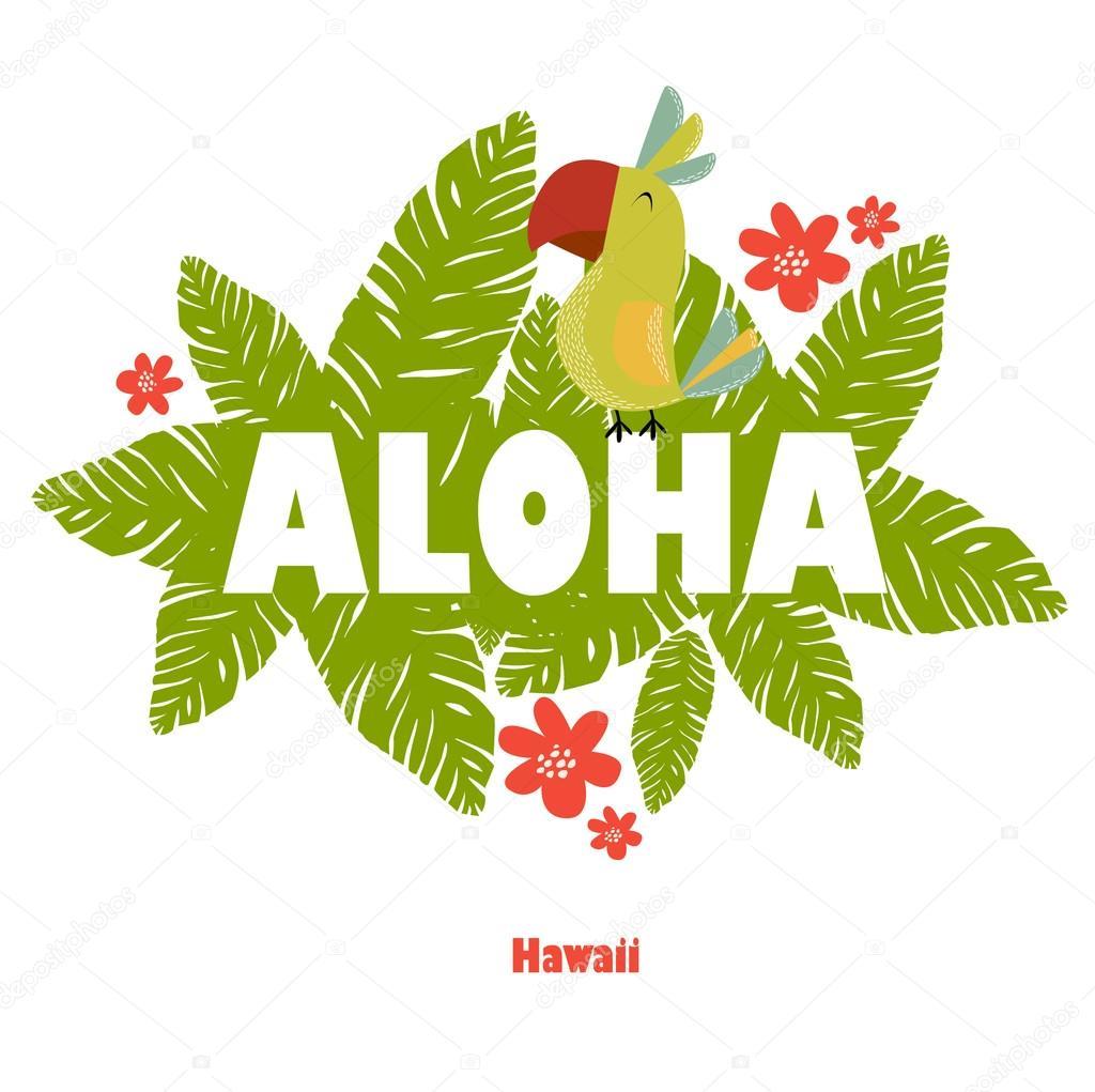 Toucan con un allegro aloha vettoriali stock utchenko for Piani di piantagione hawaiana