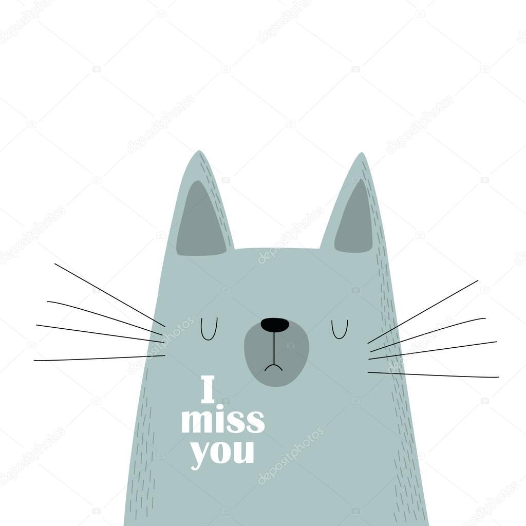 Grijze Kat I Miss You Stockvector Utchenkoolga 114978336