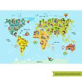 Fotografie Weltkarte mit Tieren