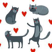 Pozadí s kočkami a srdce