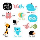 Fényképek Vektor stilizált karakterek és szimbólumok. bálna, medve, sündisznó, zsiráf, fiú, lány, gyerekek. Használható mint egy logót a gyermek termékek és szolgáltatások. Mint egy poszter, Képeslap-meghívó