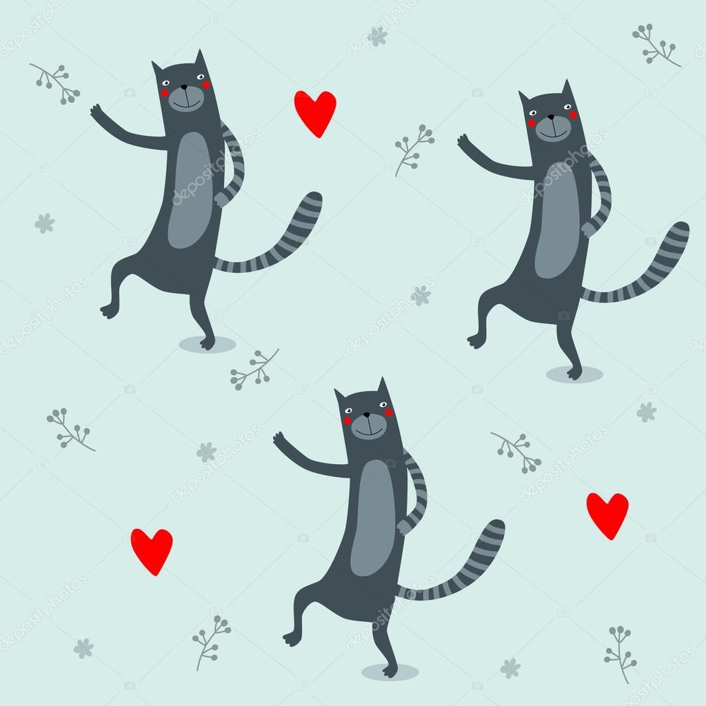 Tło Z Czarne Koty I Serca Może Służyć Do Drukowania Jako