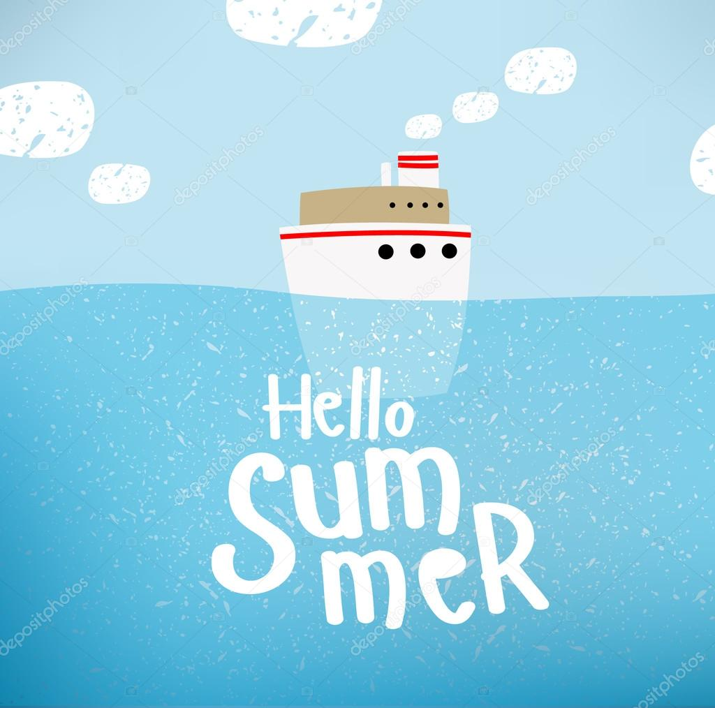 Vector Illustration Of A Ship That Sails On The Sea  Awesome Ideas