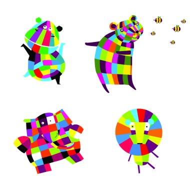 Vector illustration. Cheerful animals