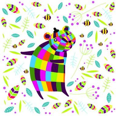 Vector illustration of a bear and flowers