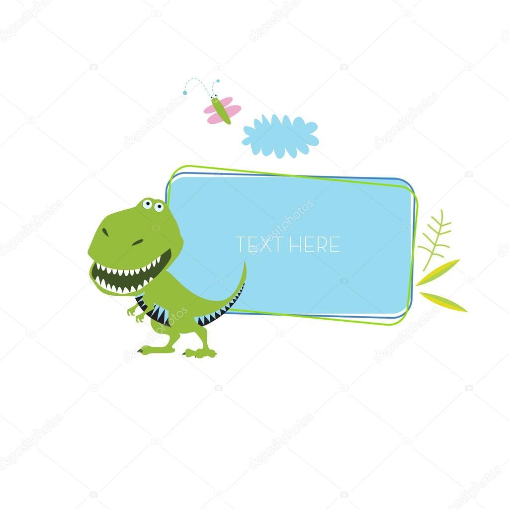 Marco de dinosaurio de dibujos animados — Vector de stock ...