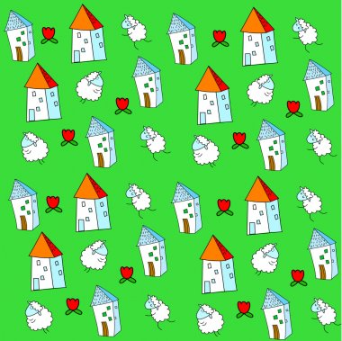 Vector background with sheep and houses clip art vector