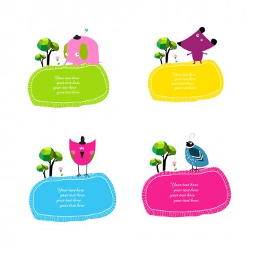 set of stickers with animals