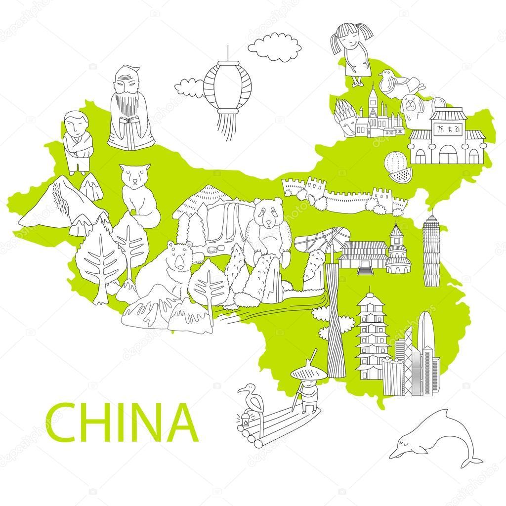 cartoon map of China — Stock Vector © utchenko_olga #74461123