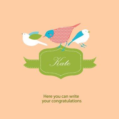 decorative birds and label