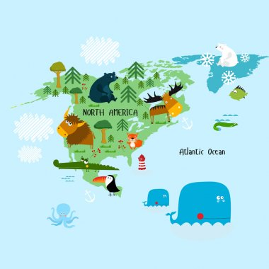 North America continent with animals