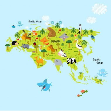 Eurasia continent with animals