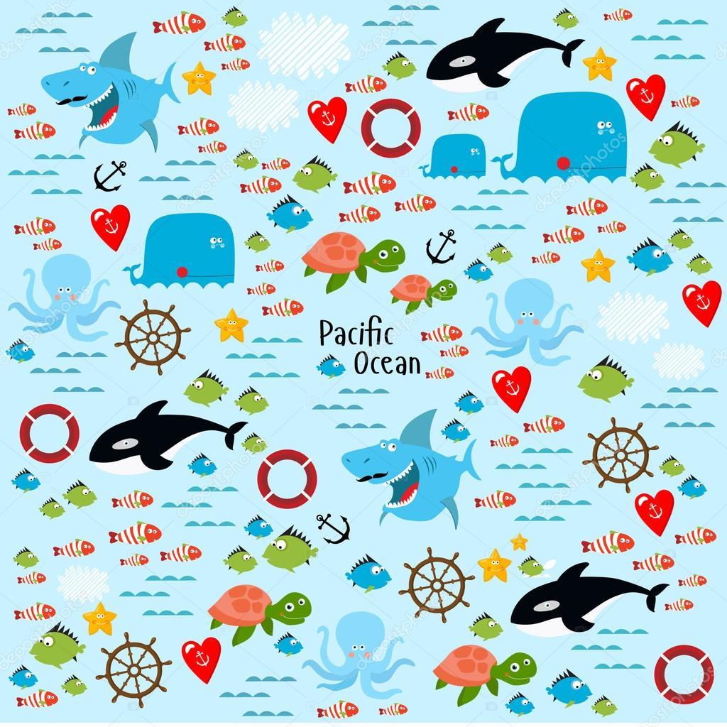 Oceano Pacífico Com Animais Marinhos Vetor De Stock
