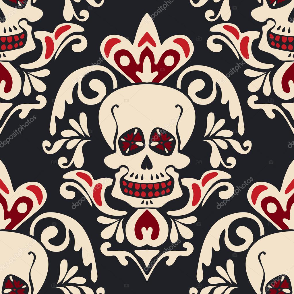 Victorian Gothic Skull Vector Damask Pattern Stock