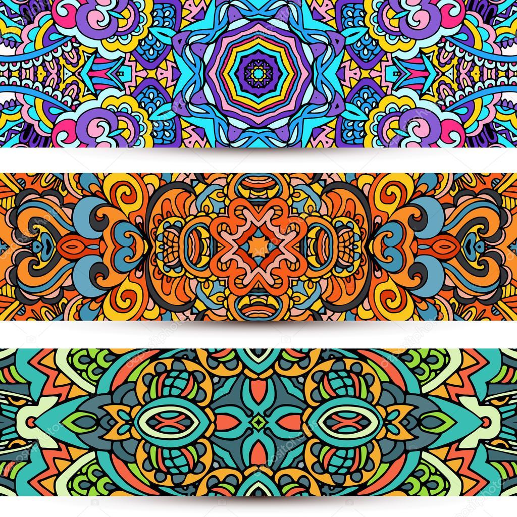 Festive Ornamental vector banner Ethnic tribal Set