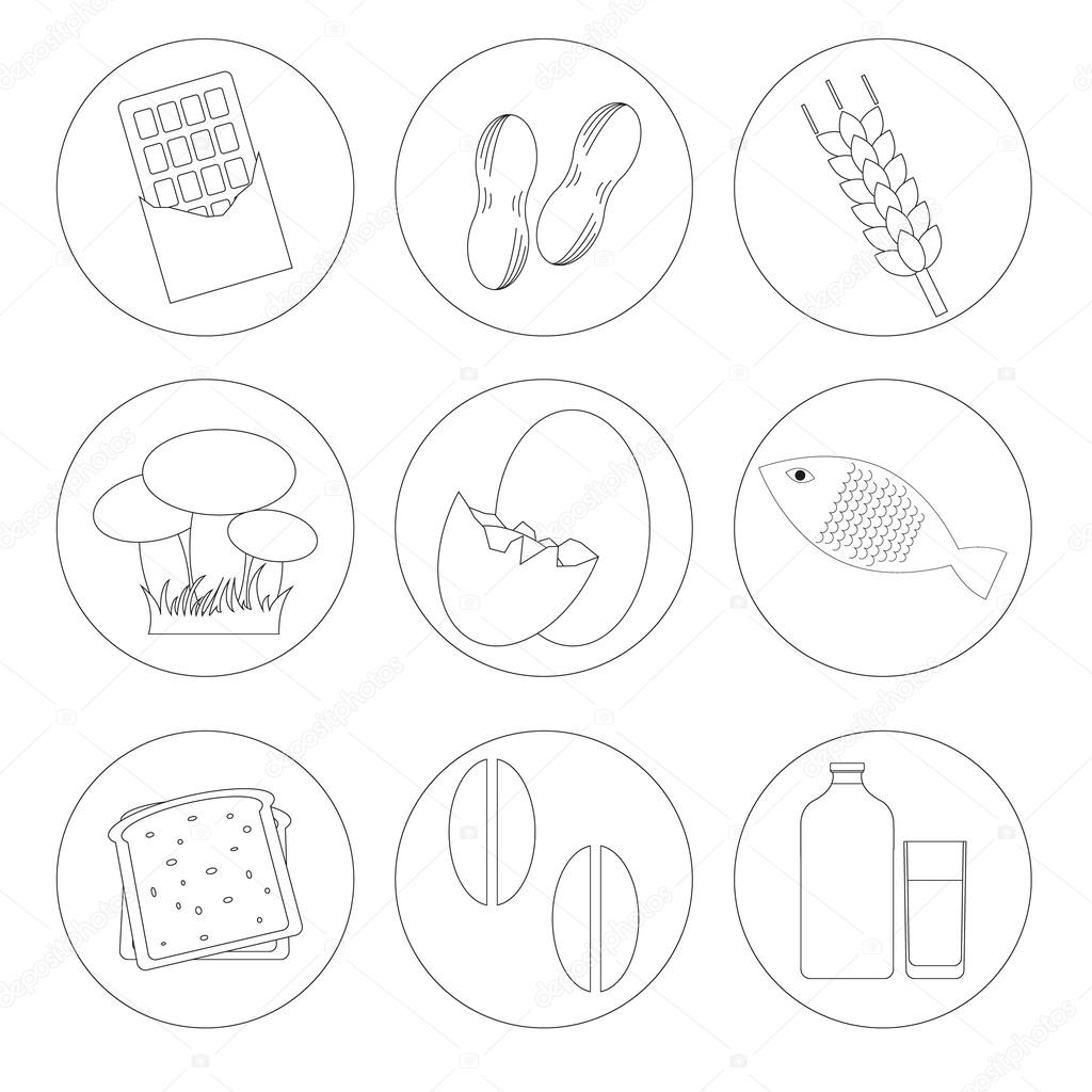 Allergic food list labels vector