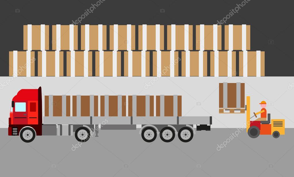 8412ed0885 Caminhão logística de transporte em estoque vector — Vetores de Stock