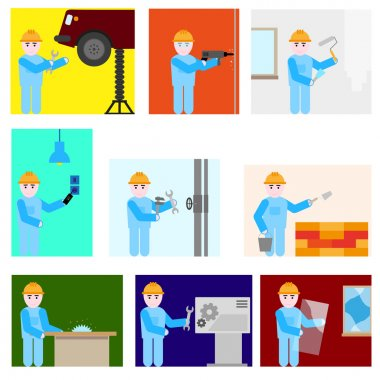 Repairman different professions set