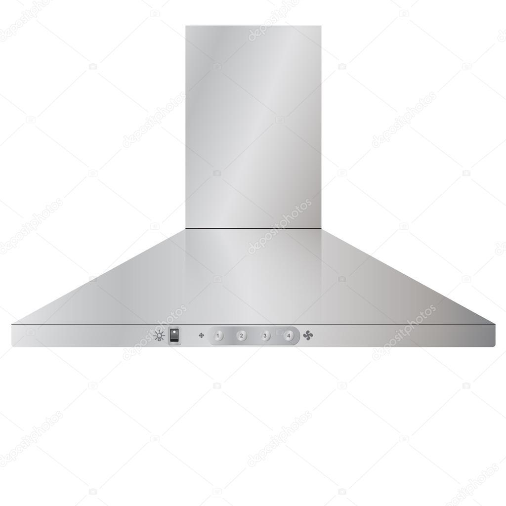 Aparatos. Campana extractora de cocina moderna en acero plata ...