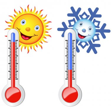 Two thermometers symbolizing the hot and cold temperature. Sun and snowflake with smiles on their faces. clip art vector