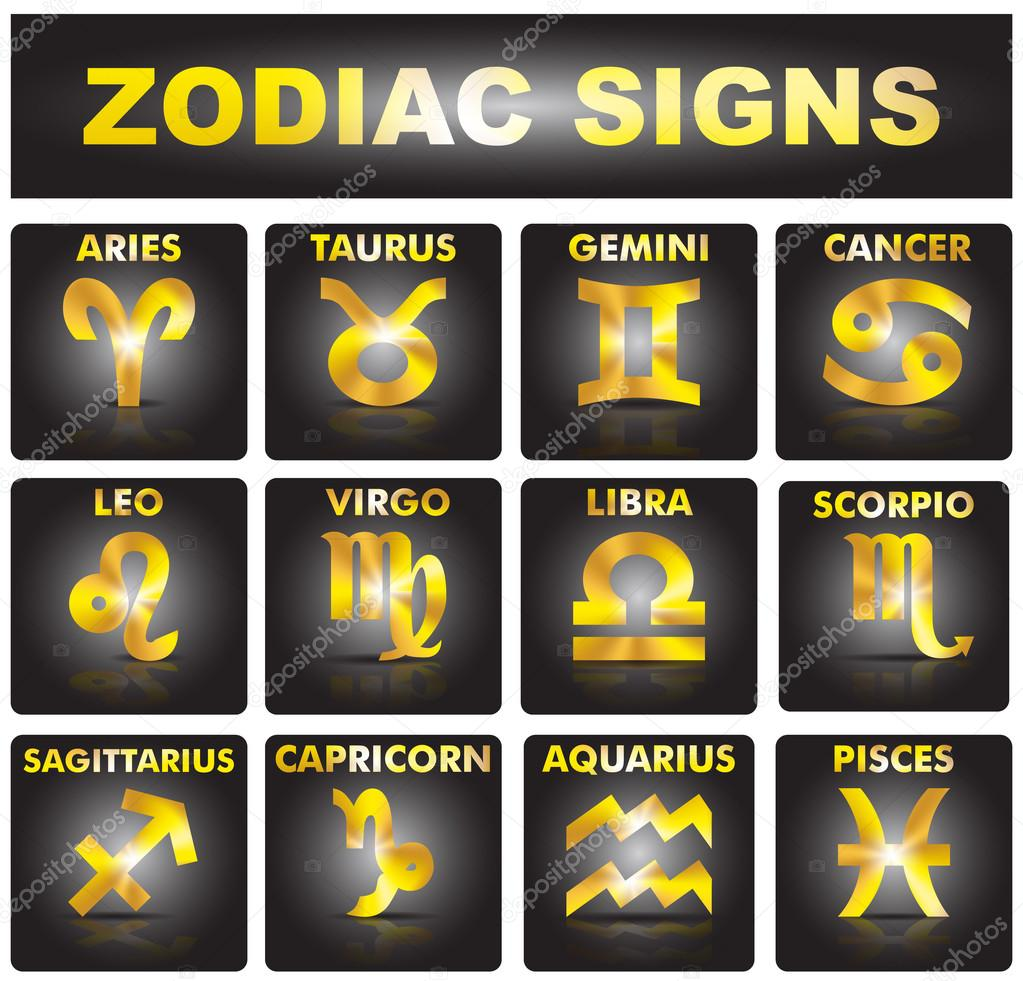 Set of golden signs of the zodiac.
