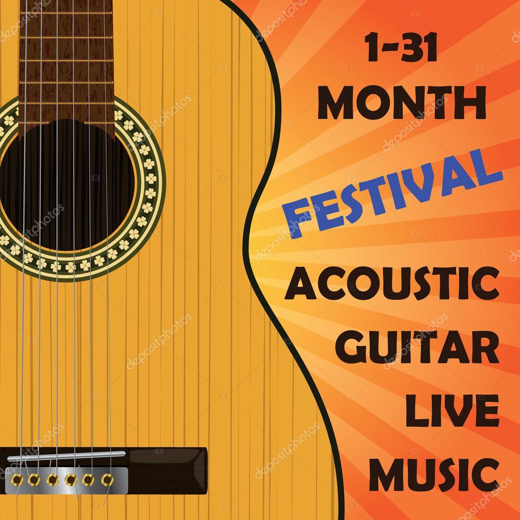 Guitarra clásica acústica. Plantilla para el cartel, anuncio ...