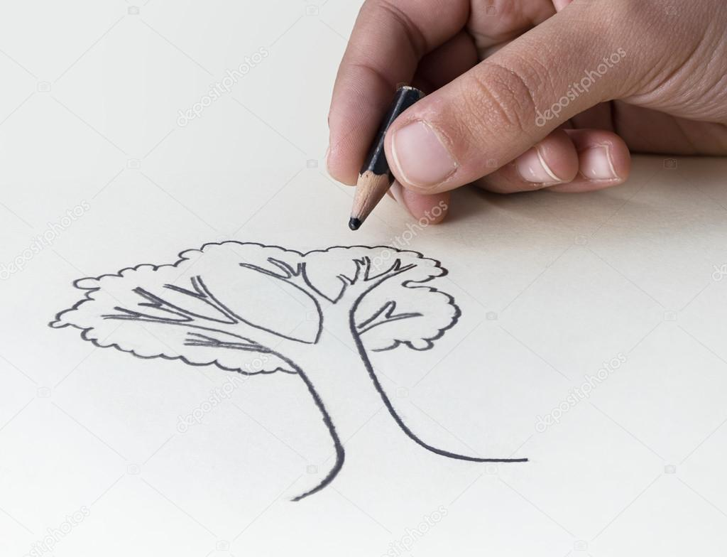 Flower Child Line Drawing : A child drawing tree with very short pencil stub u stock photo