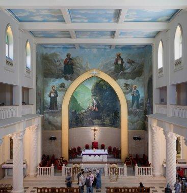 Cairo, Egypt - April 15, 2016: Interior of Saint Maron Heliopolis Church, Cairo, Egypt