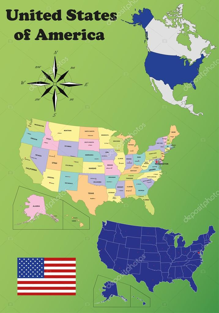 Map Of America 52 States.United States Of America Vector Set Stock Vector C Delpieroo