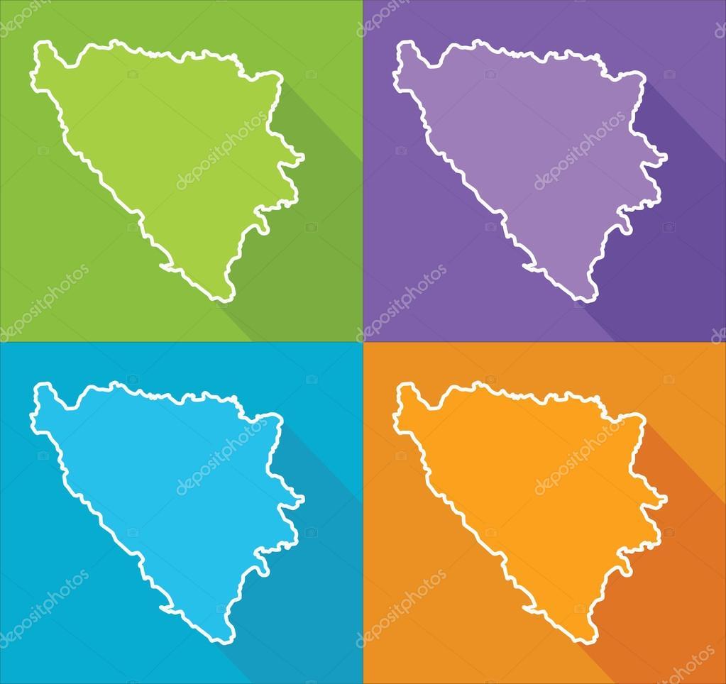 Karta Bosnien Och Hercegovina.Fargglada Karta Bosnien Och Hercegovina Stock Vektor C Delpieroo