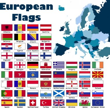 European flag set in alphabetical order