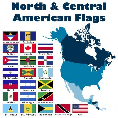 North and Central American flag set
